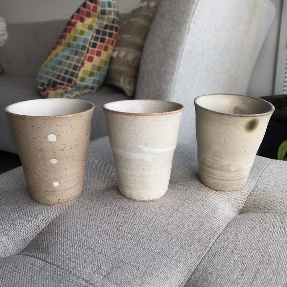 Set of 3 Ceramic Tea Cups - Beige White Polka Dot